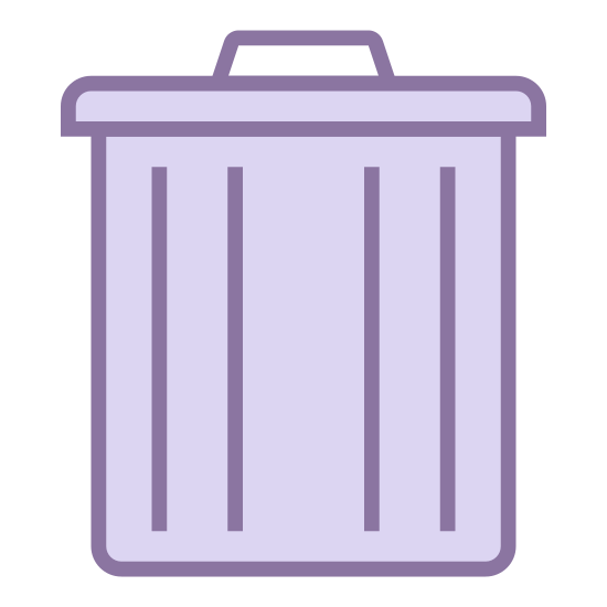 Excluir icon. The icon shows an old style round metal trash can with closed metal lid on top. The icon would be seen on a computer or device as a place to delete items from the system.