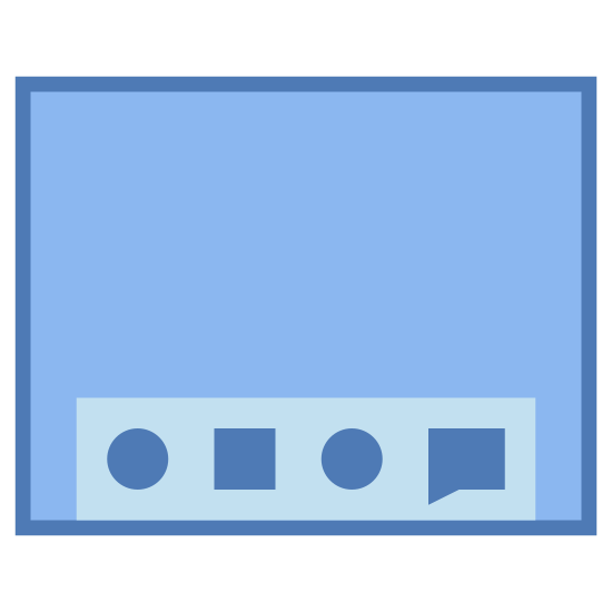 Desktop Mac icon. This logo is an almost square rectangle with a uniform patter of dots inside. Centered in the bottom of the rectangle is a dock with four small rectangles inside. This logo is meant to represent the graphic user interface of a computer which runs Apple's operating system.