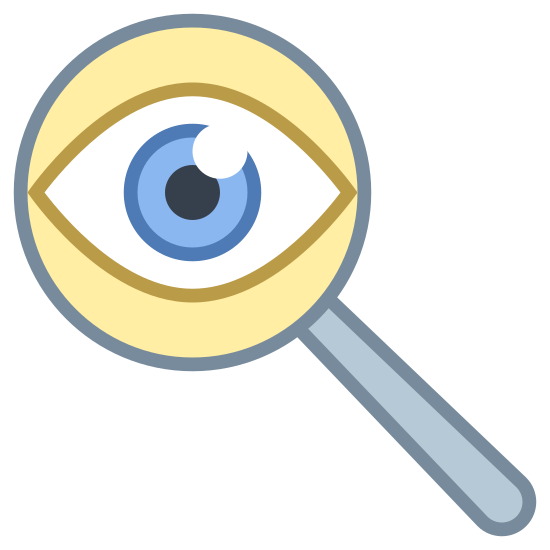 Детектив icon. The icon consists of a stylized eye within a magnifying glass. The eye is composed of curved lines and a solid black circle, and the magnifying glass is the standard circle with a rectangle handle. This symbolizes an eye investigating something.