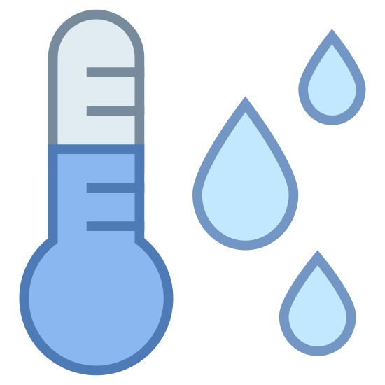 Punto de rocío icon. This is a picture of a thermometer and you can see the mercury in it. it has lines for telling the temperature, and to the right hand side of it are three drops of dew or water.