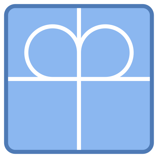 Charity icon. The Diakonisches Werk logo is a square with rounded edges. Then the square is divided into 4 equal sections with lines from top to bottom and side to side. Then in the bottom of the top sections there are two circular objects in the corner touching each other.