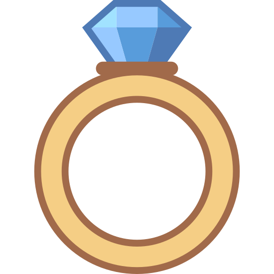 Anillo de diamantes icon. The image is a circular shaped ring. It features a thin layer around the entire piece and the diamond pendant is on top of it. The pendant is relatively small, regularly shaped like a hexagon and is divided by a horizontal line.