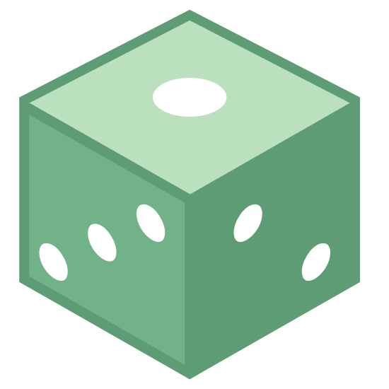 Kostka do gry D6 icon. There is a cube with rounded edges. The cube has three diagonal dots on the side facing the viewer and the other visible side on top has one dot visible.