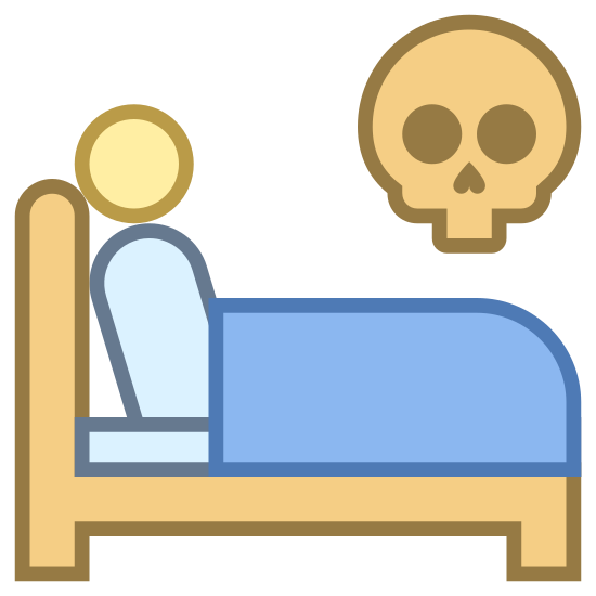 Umrzećw łóżku icon. There is a bed frame with a headboard on the left side. A circle representing a person's head is lying down with a rectangle as blankets next to them. Above the bed is a large floating skull.