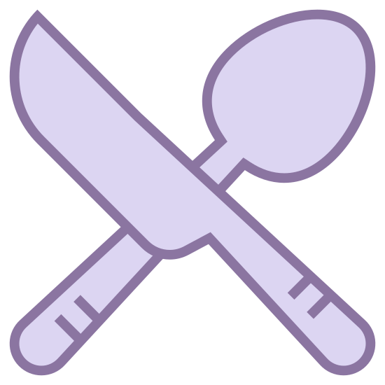 Dining Room icon. The drawing depicts a fork placed to the left beside a knife.  This combination symbolizes a place where food can be obtained, or a place where meals will be served.