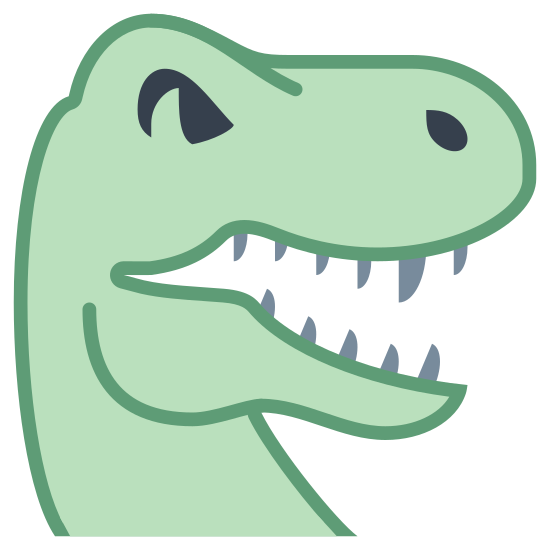Dinosaur icon. There is a dinosaur head that looks like a T-Rex with its mouth open giving a fierce look and showing several teeth. There's one visible eye and one visible nasal hole.