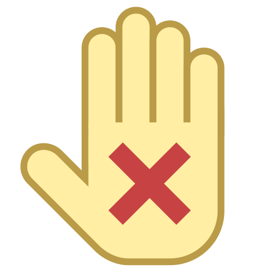 Wyłączenie odpowiedzialności icon. An outline of a hand is held up facing you with an X in the palm. The hand has its fingers placed together, in a motion where it wants you to stop.