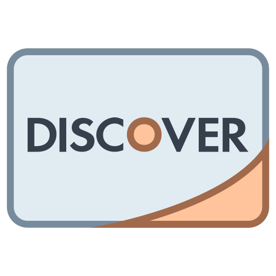 """Discover icon. This is a square that has rounded corners. The middle of the square has the DISCOVER card logo. The DISCOVER card logo consist of the word """"DISCOVER"""" in all capital letters, with the center of the O filled in."""