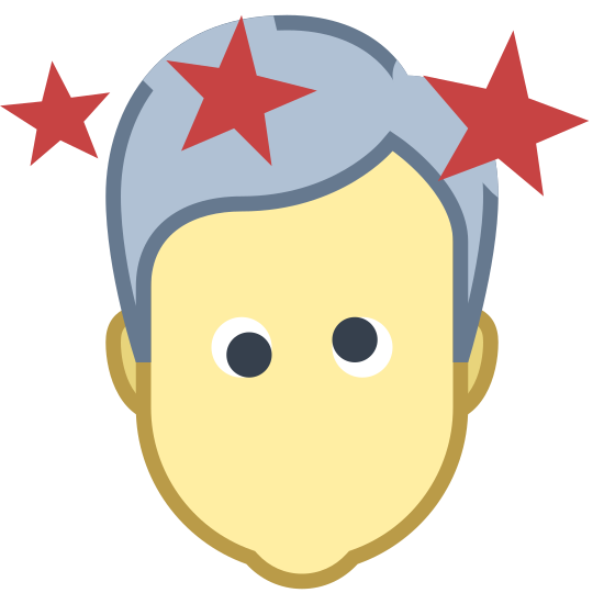 Drunk icon. A cartoon head of a person's face with eyes crooked indicating dizziness. Four stars are also along the top of head as also implying dizziness or confusion. No mouth.