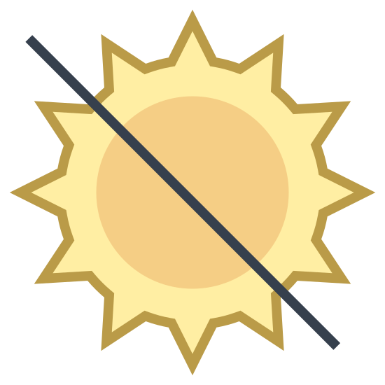 Sunlight icon. There is a circle with ten small lines radiating from it's outline on the outside. In addition, there is one long large diagonal line descending from the top left, cutting through the circle's middle and ending to the bottom and right of it.