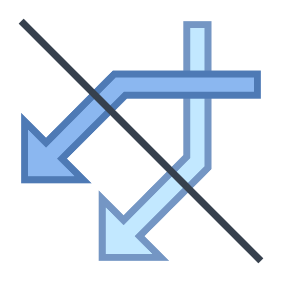 Do Not Mix icon. This icon represents do not mix. The icon has two line pointing down crossing over each other towards the top. There is a line crossing over both lines that is crossing each other.