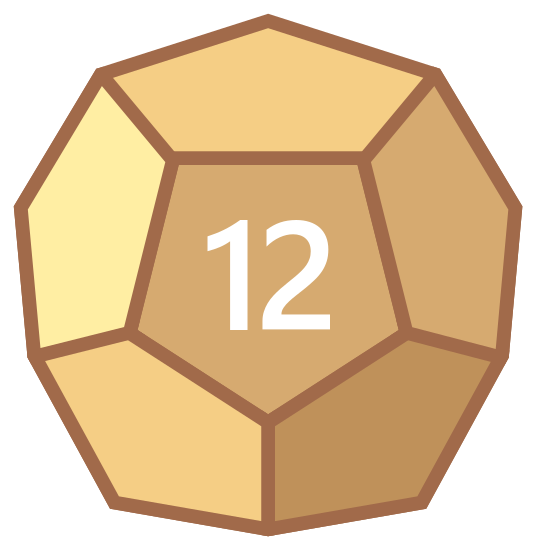 Dodecahedron icon. The icon resembles a 12 sided dice shape but only six of the sides are visible. At the center of the dice shape is an upside down pentagon with the number 12 inside of it.