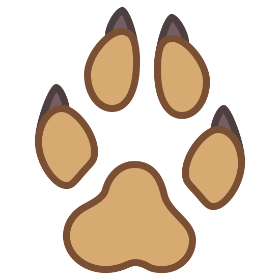 Dog Paw icon. This icon contains the image of a paw print. It has a rounded triangular image for the middle and is surrounded at the top of the rounded triangle with four thumbprint images with smaller images attached at the top representing toes and claws.
