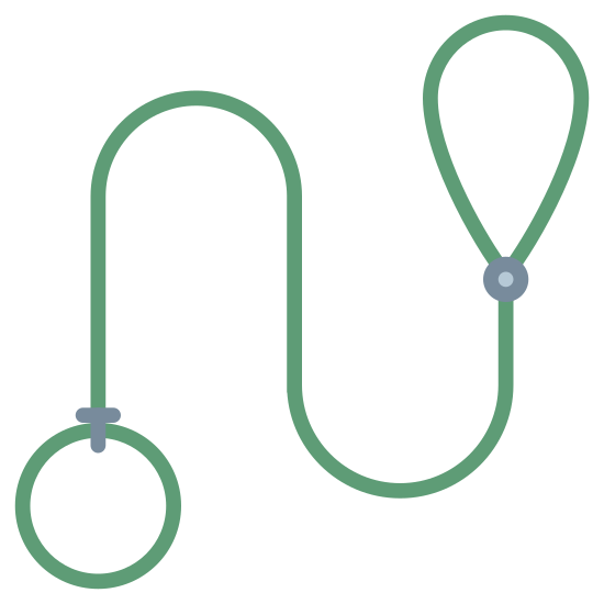 Dog Leash icon. On the bottom left is the start of the leash with a loop handle. It tails into another loop that's shaped like an upside down teardrop, for where the dog's head would go.
