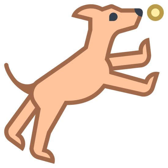 Park dla psów icon. It's the image of a dog that is jumping in the air for a ball.  The dog looks to be flying in the air, with all legs splayed out.  It is attempting to reach a ball that is right in front of its nose.