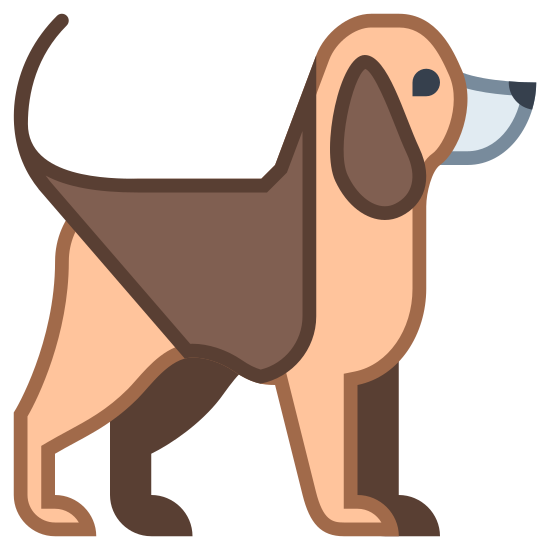 Dog icon. There is a side view of a dog shape with a short tail and small pointed ears with a triangular shape. The dog also has a collar and a dot in the place of its eye.