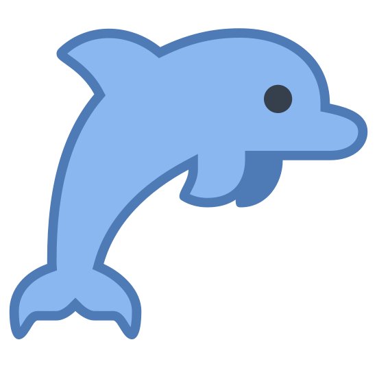 Delfin icon. The icon is of a dolphin. It has a fin on it's back, a tail, and two smaller fins on the bottom to help it swim. It's positioned like it's jumping out of the water.