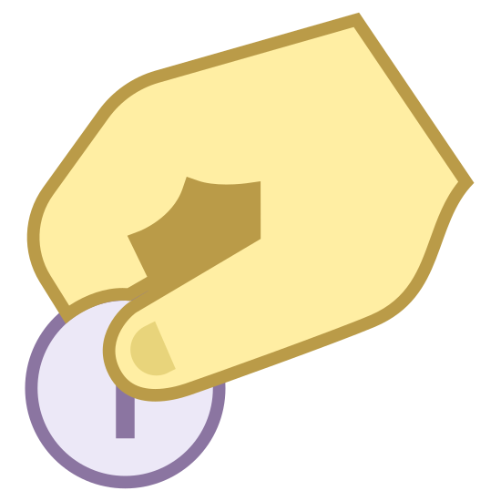 Donate icon. This is an icon urging people to donate. It's a hand holding a coin, and it appears to be about to drop the coin. The coin is being held by the thumb and index finger.