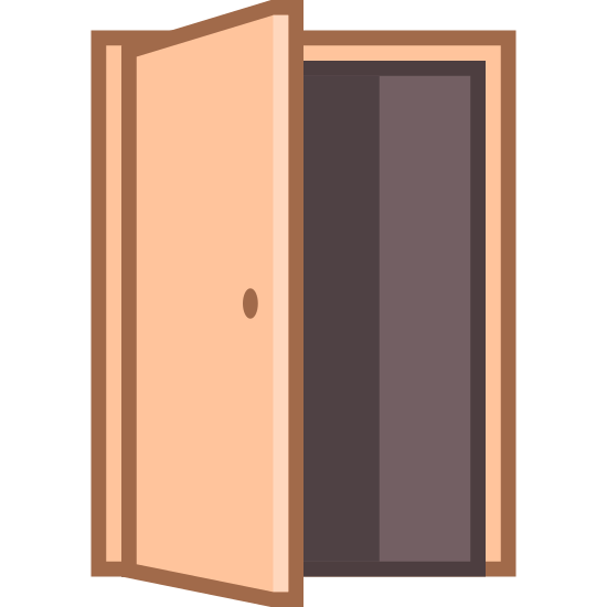 Door Opened icon. This image has a door that is being opened. There are two rectangles offset of each other. The one of the left is the door and has a doorknob on it.
