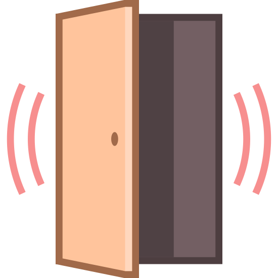 Door Sensor Alarmed icon. This icon is in the shape of a door, the door is open about half way. You can see the door frame and the door has a handle. On both sides of the door are two sets of curved lines. The lines are curving away from the door and are close together.