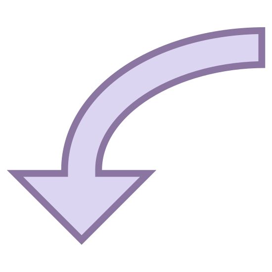 Down 3 icon. This icon looks like a large arrow, pointing downward. The head of the arrow is larger than the tail of the arrow. The tail tapers off into a small curve to the right of the arrowhead.