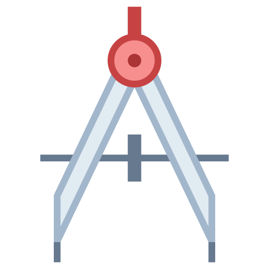 Drawing Compass icon. This icon represents a drafting compass. It has two legs with points on the end of them with a bar across the center connecting them. The legs are joined together at the peak with a round circle looking like a hinge.