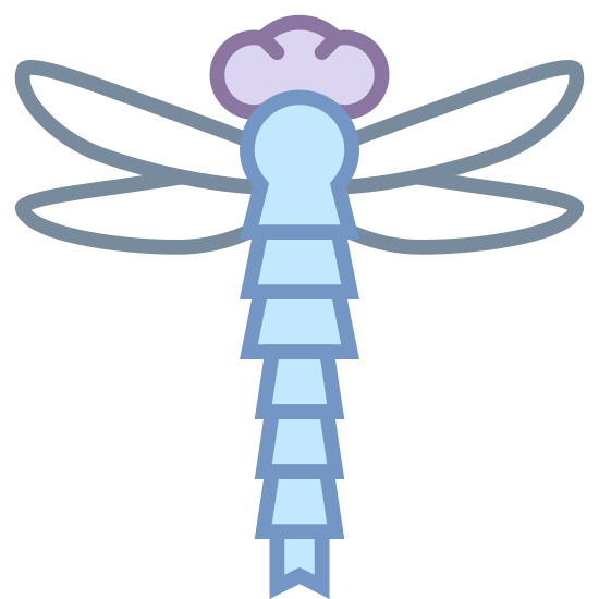 Dragonfly icon. This is an icon depicting a dragonfly with the image of a dragonfly. The dragonfly is flying upwards and has four wings. The head has two eyes and the tail is made up of gradient lines that go to a point at the bottom of the image.