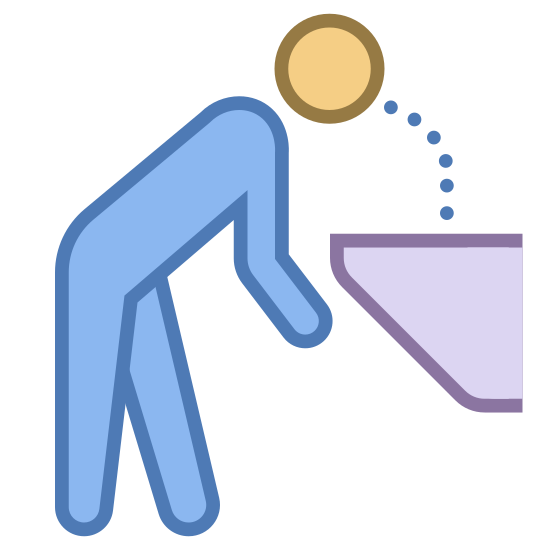 Drinking Fountain icon. This is a picture that would be used to label a drinking fountain. It features a person who is bent with their head leaning close to a round object that has dots, which symbolize the water, arching towards the persons mouth.