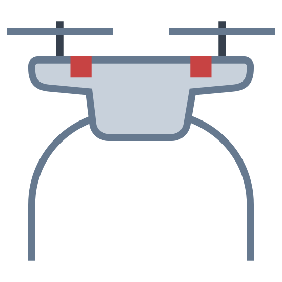 Drone icon. This is a picture of the top of a drone. you can see the propellers which look like bike handlebars. they go horizontally across. there are two of them and they are connected by a curved rod. underneath that is the body of the drone which we only see the top of