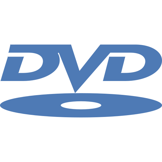 """Logo DVD icon. It's the normal """"DVD"""" logo. On the bottom is a dvd disc laying close to flat and then above that are the letters """"DVD"""" written in outline and all connected and slightly italicized."""