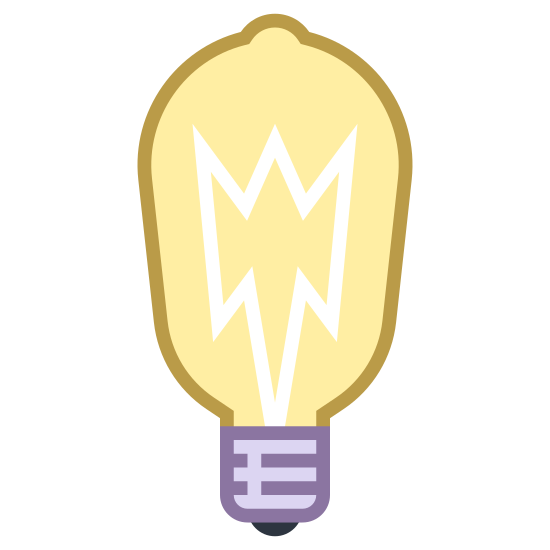 Żarówka Edisona icon. It's a logo of Edison Bulb reduced to an image of a basic light bulb. It looks like an ordinary light bulb but has a classic look to it. The Edison Bulb is one of the first bulbs created.