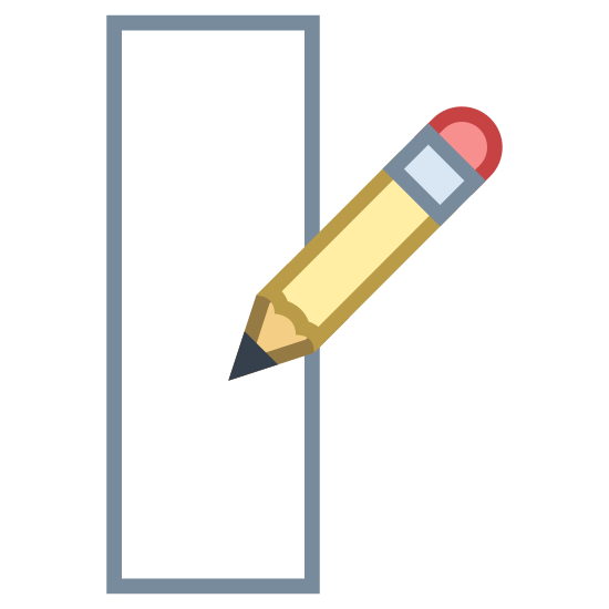 Edit Column icon. It's the image of a piece of paper, with a writing utensil positioned above the paper as if it were writing.  The writing utensil has an angle as if it were being held in a right hand.