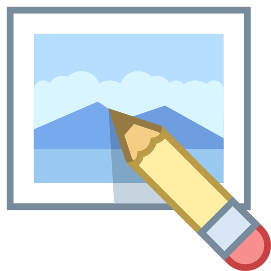 Edit Image icon. The edit image symbol is a pencil inside of a photo frame. The edges of the photo frame are rounded. There are two roundings on the sides and three on the top and bottom.