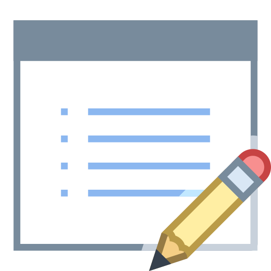 Edit Property icon. The icon depicts a rectangular chart with bullet points and lines indicating this is a list. In the bottom right portion of the chart is an image of a pencil overlapping the image.