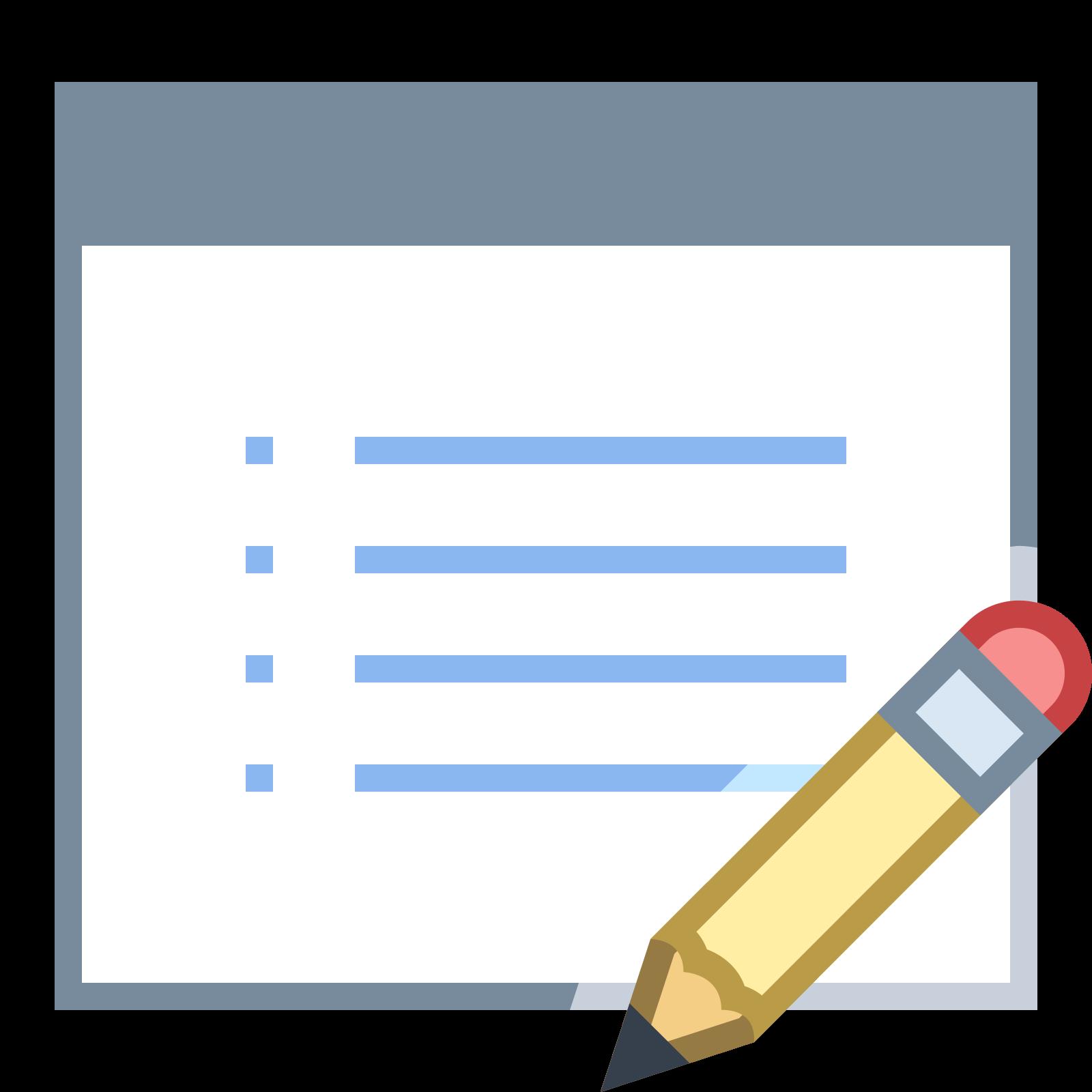 プロパティの編集 icon. The icon depicts a rectangular chart with bullet points and lines indicating this is a list. In the bottom right portion of the chart is an image of a pencil overlapping the image.