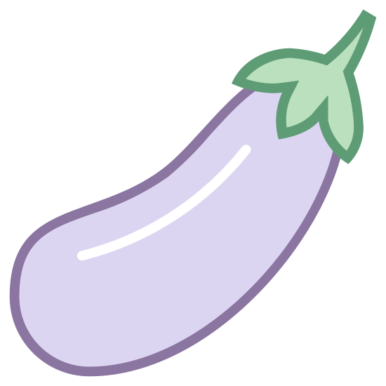 Bakłażan icon. It's a logo of an Eggplant. Eggplants are often purple and can be used to cook many recipes. The eggplants body is long and oval shaped.