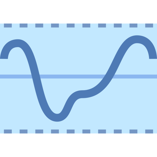 Electrical Threshold icon. It is a logo with a dotted line on the top and the bottom. There is one solid line in the middle. There is a squiggly line going up and down through the solid line.