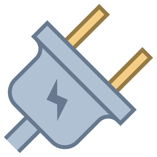 Elettrico icon. This is an icon for depicting something that is electrical. The image is of a plug with the plug the main focus. The wire is small and cutoff on the bottom left of the picture. The plug has two prongs.