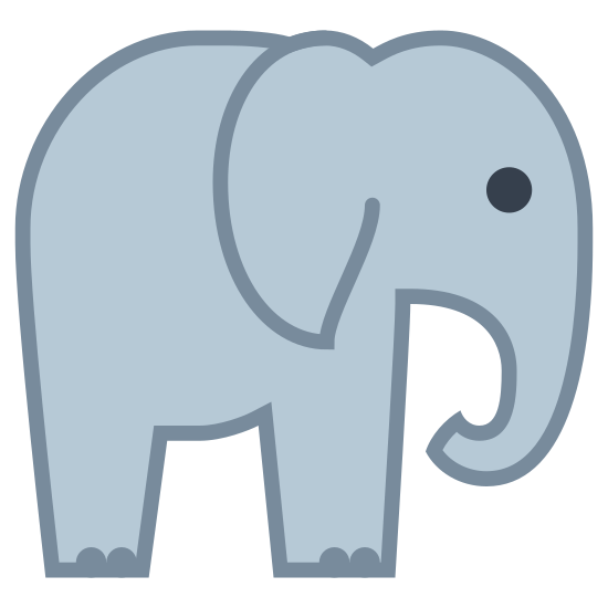 Słoń icon. This is a picture of an elephant from a side view. it's trunk is curled under towards it's mouth, and it's eye is just a dot. it's ear is next to it's body and it has two legs that are visible with tiny toes.