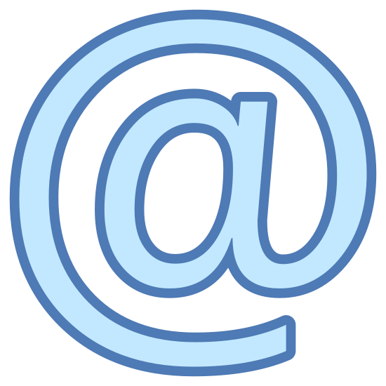 "E-Mail icon. This is the ""at"" symbol for email. It is a lower case letter a. The straight line of the letter curves around the letter in a counter-clockwise circle. It overlaps where it begins, leaving the lower case letter a encircled in one continuous line."