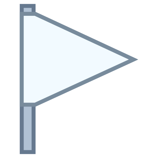 Pusta flaga icon. The symbol is an empty flag, comprised of an empty isosceles triangle with a line extending down from its base. This symbolizes a golf course flag, or an item chosen prior to be emphasized.