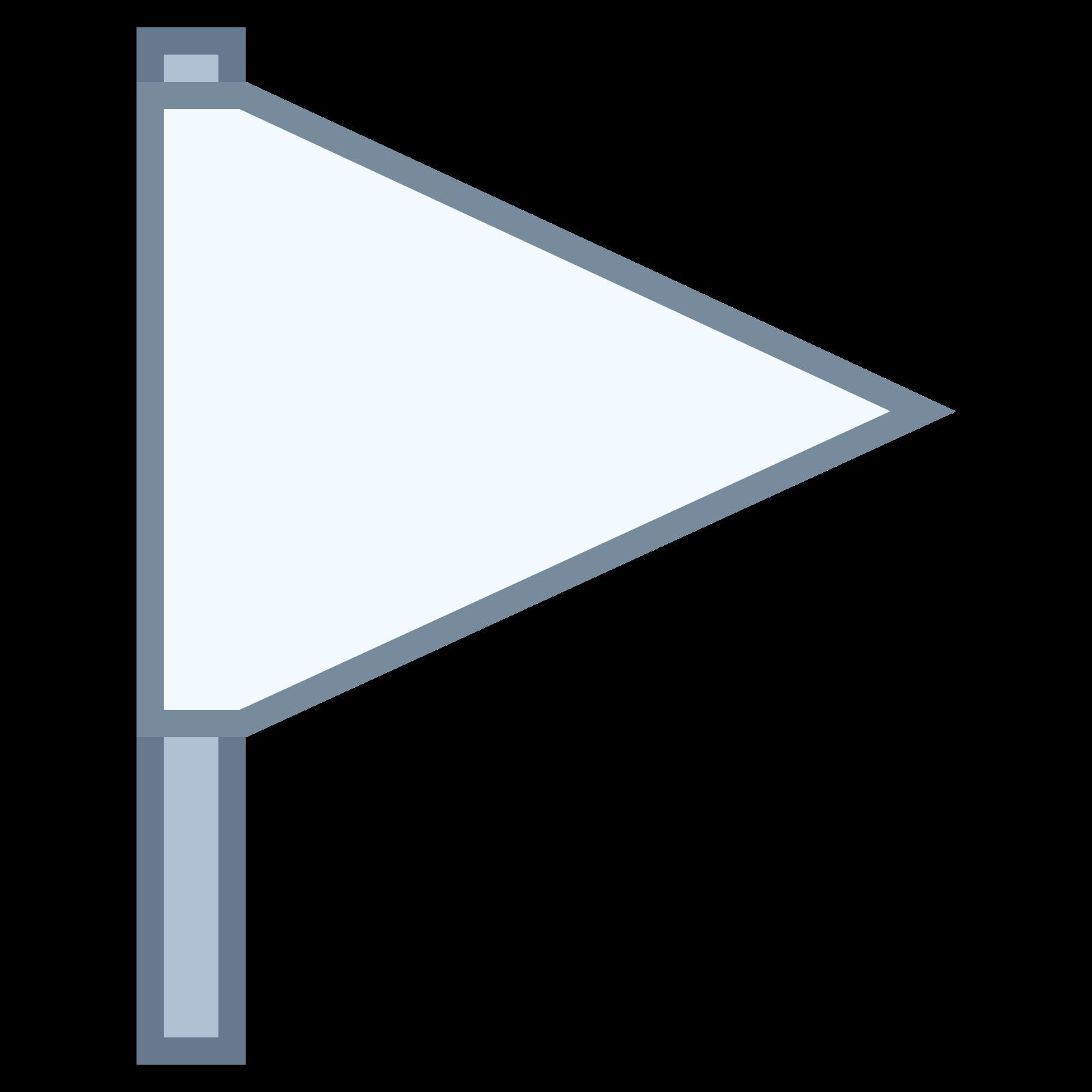 空标志 icon. The symbol is an empty flag, comprised of an empty isosceles triangle with a line extending down from its base. This symbolizes a golf course flag, or an item chosen prior to be emphasized.
