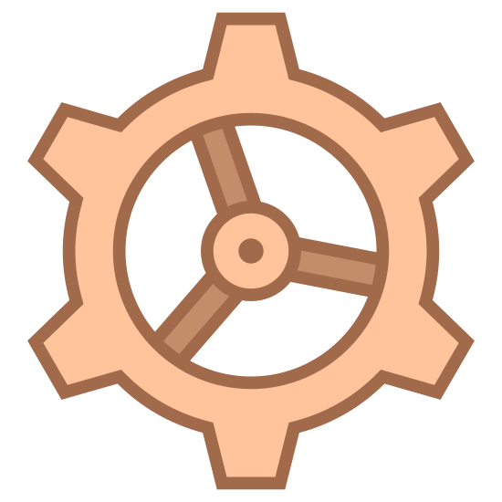 Engineering icon. It's a gear with black outlines on a white background. There are eight squared points on the gear with two circles on the inside that make a hole for other fittings.