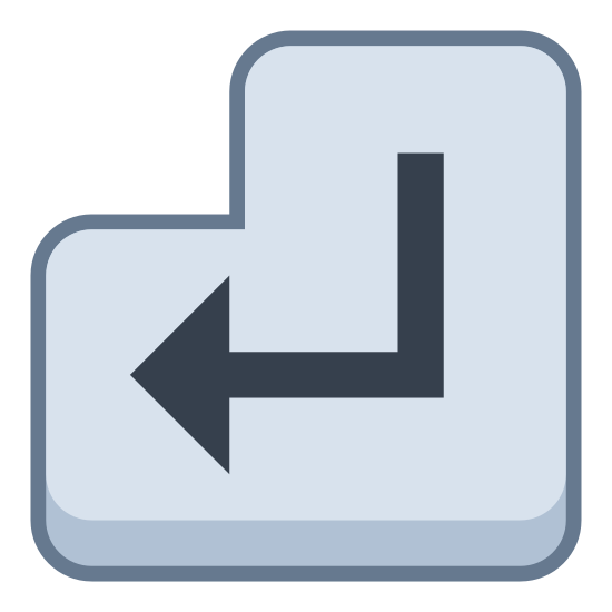 """Przycisk ENTER icon. This icon for """"enter key"""" is a backwards facing L-shaped bubble. It has curved edges. In the center of this L Shape is an arrow, which points to the left and is also curved upward at its tail end."""
