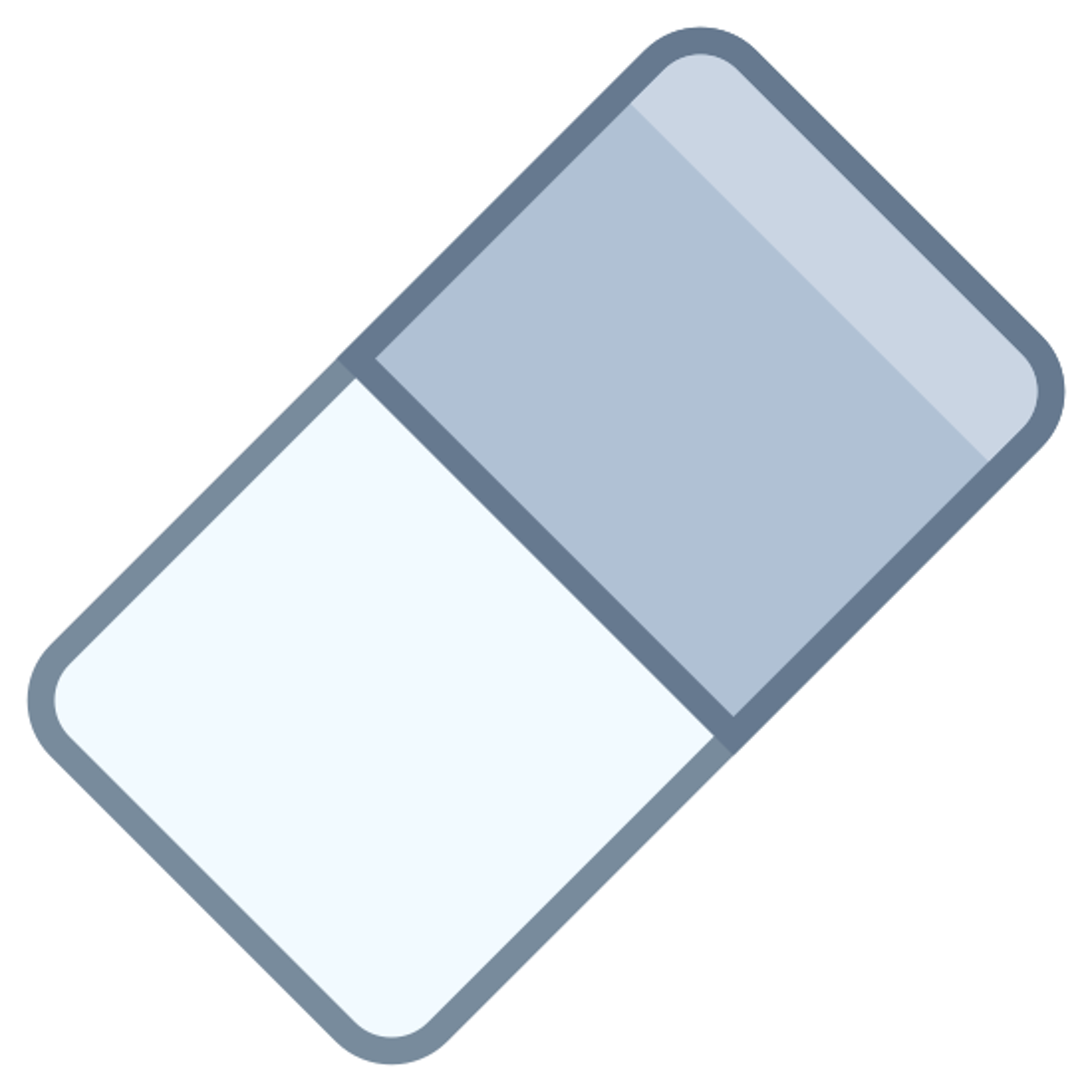 消去 icon. This icon is a rectangle standing on one of it's corners. The corners are all slightly rounded. The rectangle is divided into two sections: one that is empty and one that is full of evenly spaced dots. This icon is meant to represent an eraser.