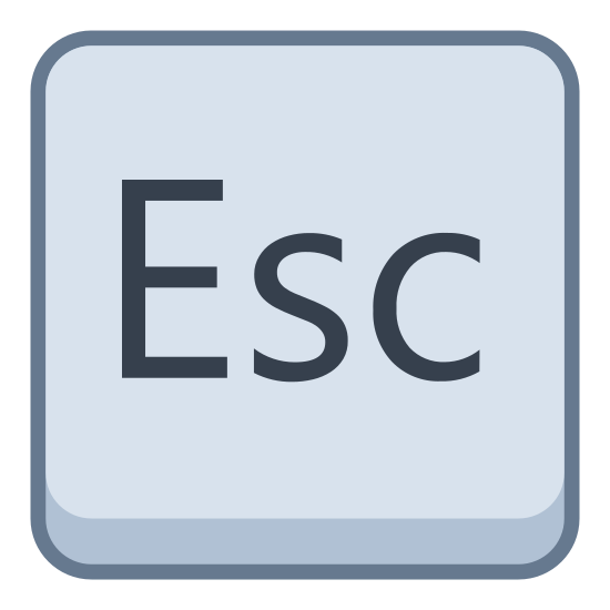 Esc icon. An Escape sign shortened to the first three letters: Esc. The logo is placed within a box with the corners rounded, and looks like the escape key on a standard American keyboard.