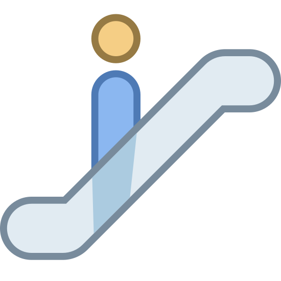 Escalator icon. This is a picture of a person going up an escalator. they are facing the top of it. the escalator is shaped like a squiggly line and you cannot see the person's bottom, only from their torso up