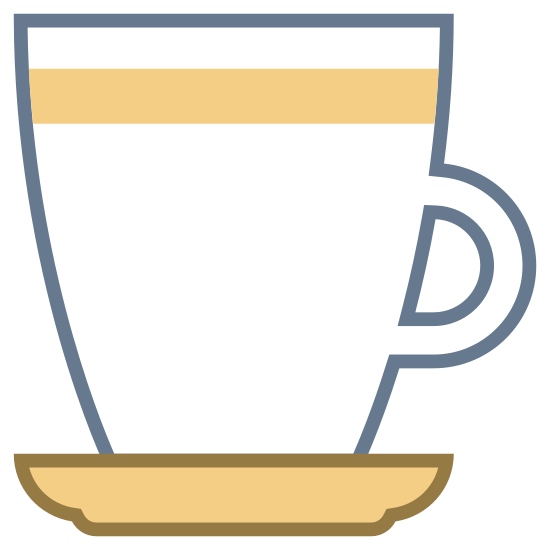 Caffè espresso icon. This is an image of the side of a mug.  The mug is facing towards the left of the image and has a handle on its right.  The mug is sitting on top of a saucer.