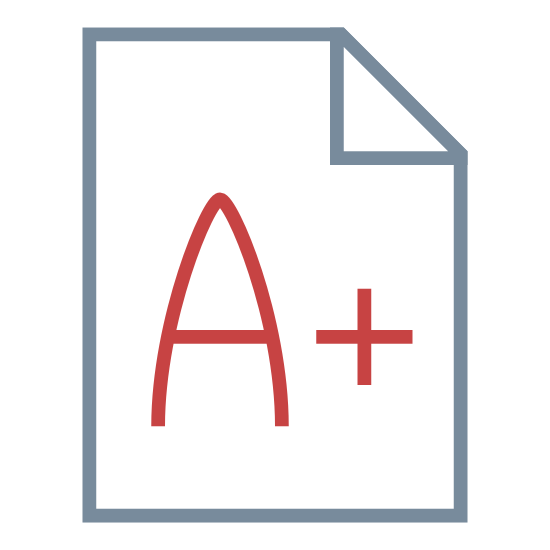 Exam icon. The exam icon is presented by a piece of paper, it is a rectangle shape object with a folded corner. In the corner there is a grade in the center such as an A+. The letter is on the paper to represent that it is a graded exam.
