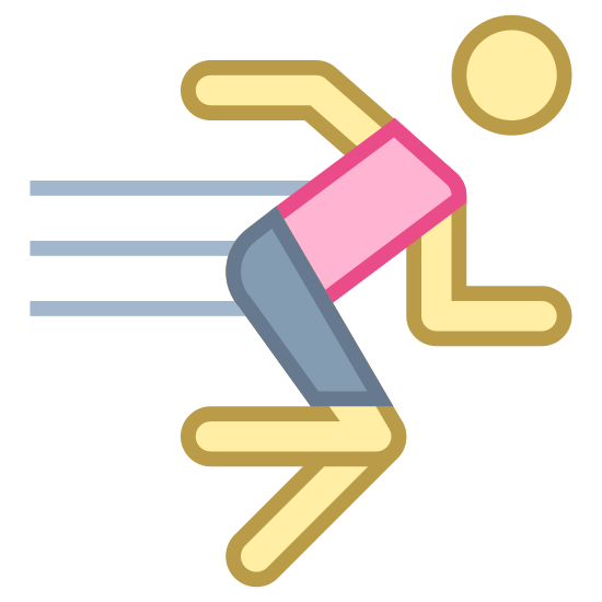 Exercise icon. This is an icon representing exercise and shows a person running to the right. There are four differently sized horizontal lines coming off the back of the runner to show it is traveling.